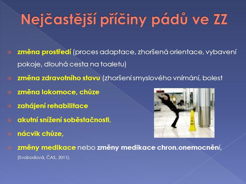  změna prostředí (proces adaptace, zhoršená orientace, vybavení pokoje, dlouhá cesta na toaletu)  změna zdravotního stavu (zhoršení smyslového vnímá
