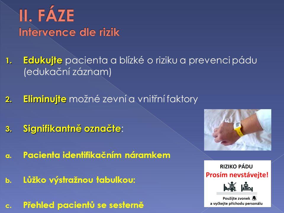 1. Edukujte 1. Edukujte pacienta a blízké o riziku a prevenci pádu (edukační záznam) 2. Eliminujte 2. Eliminujte možné zevní a vnitřní faktory 3. Sign