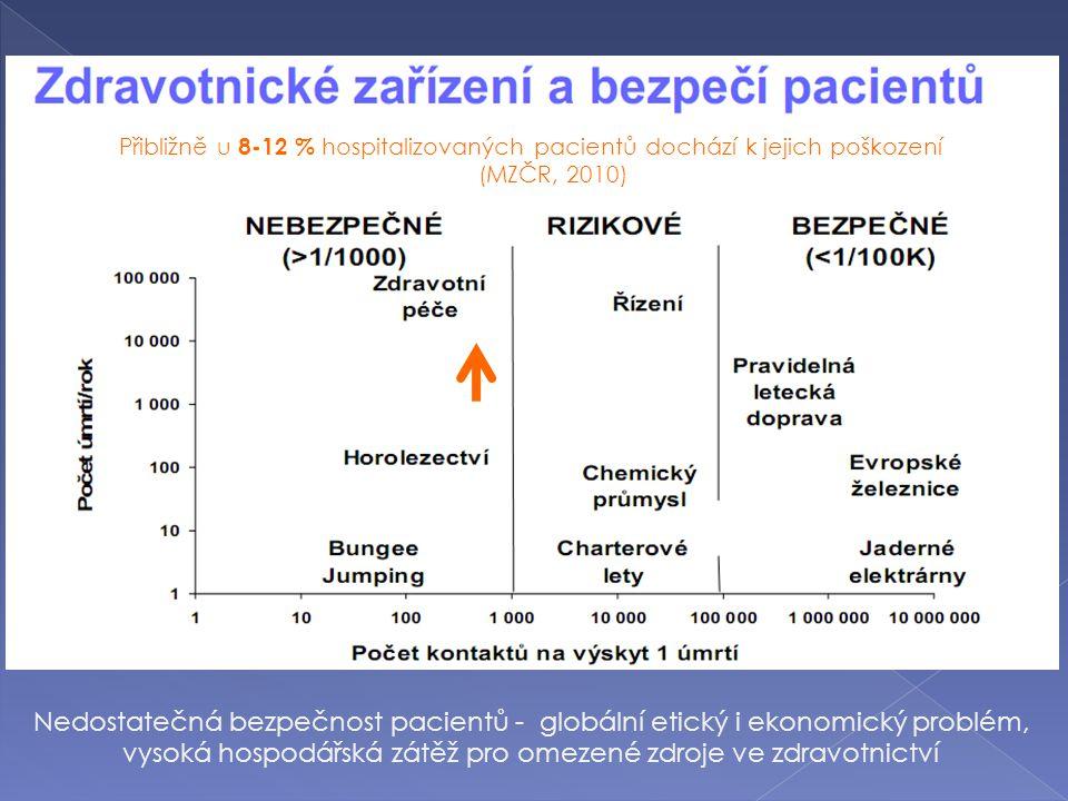 Přibližně u 8-12 % hospitalizovaných pacientů dochází k jejich poškození (MZČR, 2010) Nedostatečná bezpečnost pacientů - globální etický i ekonomický