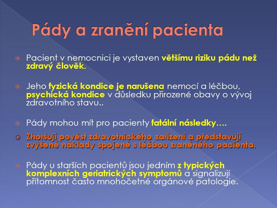  Věk nad 65 let  Polymorbidita  Pády v anamnéze  Nesoběstačnost  3D (demence, deprese, delirium)  Ortostatická hypotenze