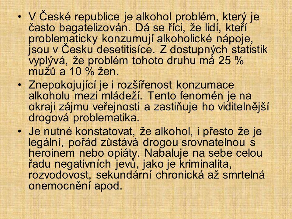 V České republice je alkohol problém, který je často bagatelizován. Dá se říci, že lidí, kteří problematicky konzumují alkoholické nápoje, jsou v Česk