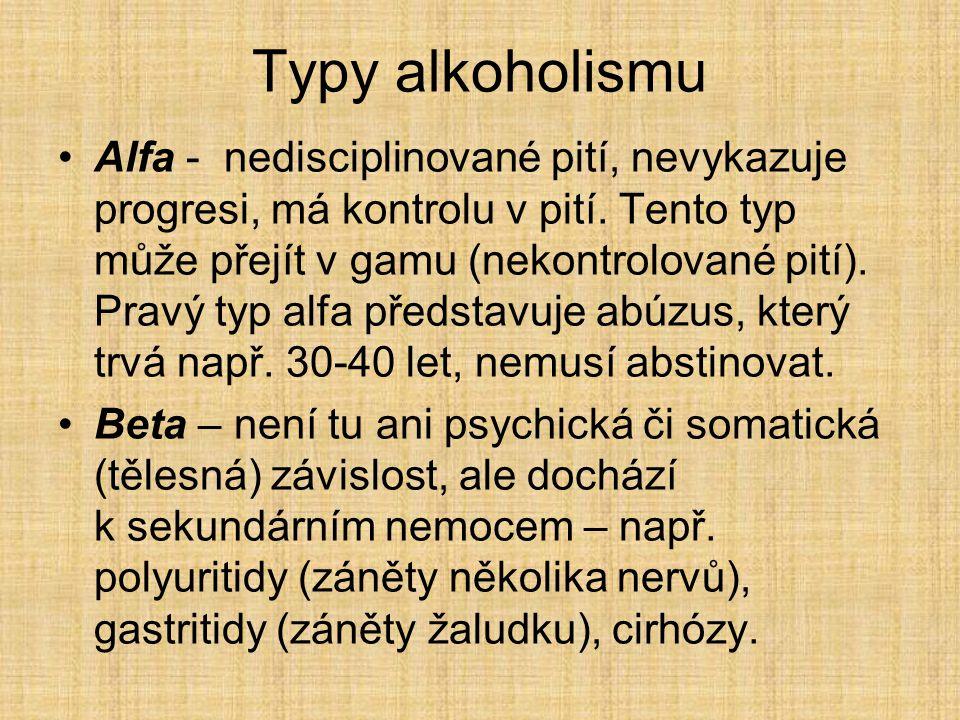 Typy alkoholismu Alfa - nedisciplinované pití, nevykazuje progresi, má kontrolu v pití. Tento typ může přejít v gamu (nekontrolované pití). Pravý typ