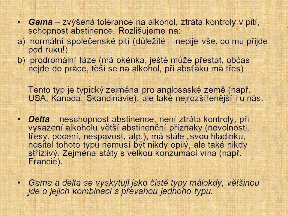 Gama – zvýšená tolerance na alkohol, ztráta kontroly v pití, schopnost abstinence. Rozlišujeme na: a) normální společenské pití (důležité – nepije vše