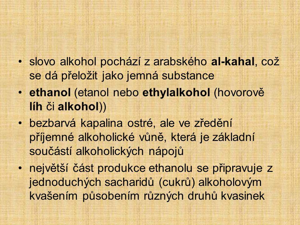 slovo alkohol pochází z arabského al-kahal, což se dá přeložit jako jemná substance ethanol (etanol nebo ethylalkohol (hovorově líh či alkohol)) bezba