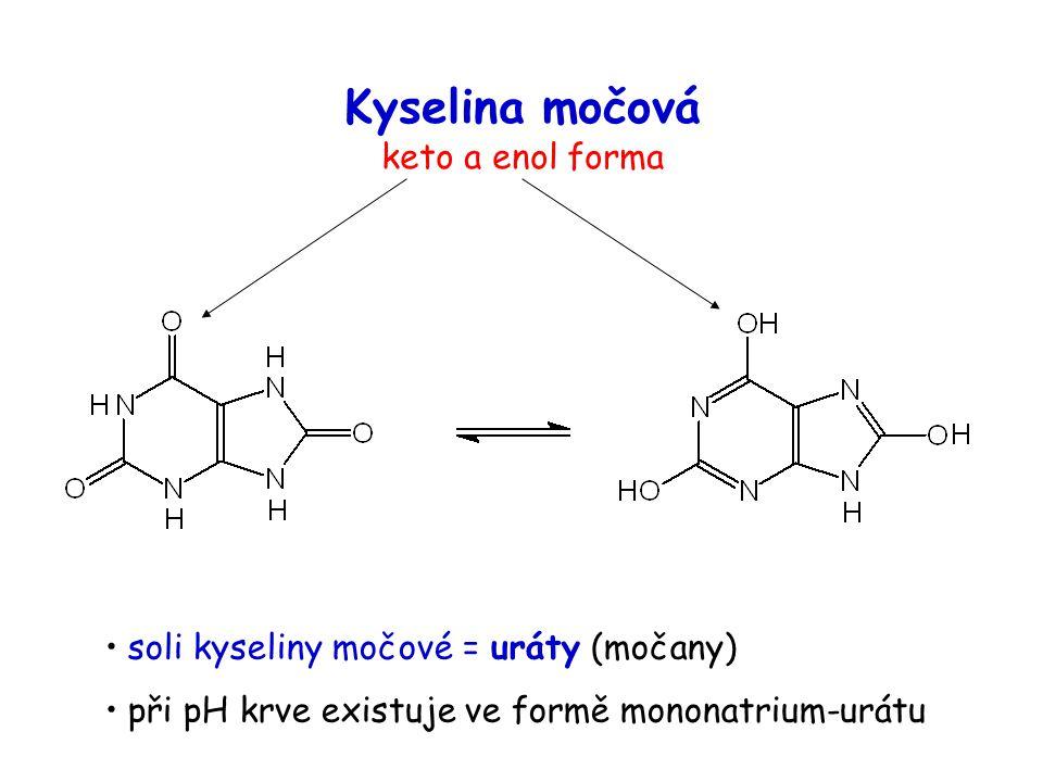Kyselina močová keto a enol forma soli kyseliny močové = uráty (močany) při pH krve existuje ve formě mononatrium-urátu