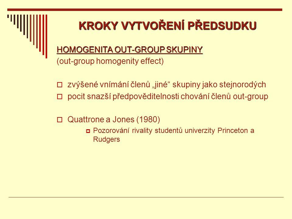 """KROKY VYTVOŘENÍ PŘEDSUDKU HOMOGENITA OUT-GROUP SKUPINY (out-group homogenity effect)  zvýšené vnímání členů """"jiné skupiny jako stejnorodých  pocit snazší předpověditelnosti chování členů out-group  Quattrone a Jones (1980)  Pozorování rivality studentů univerzity Princeton a Rudgers"""