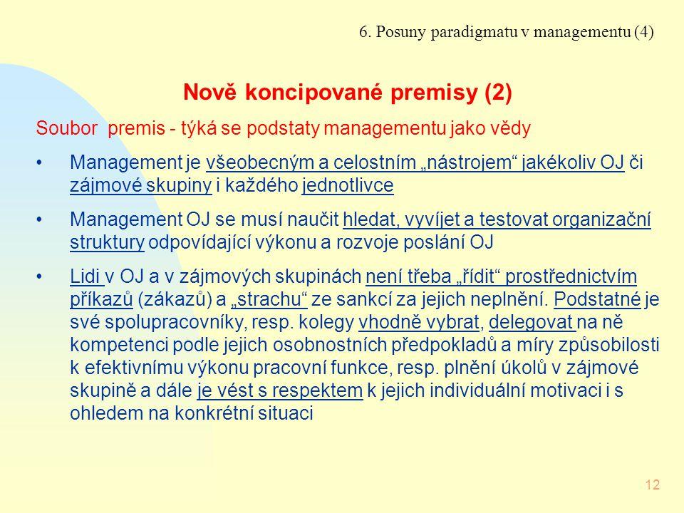 12 6. Posuny paradigmatu v managementu (4) Nově koncipované premisy (2) Soubor premis - týká se podstaty managementu jako vědy Management je všeobecný