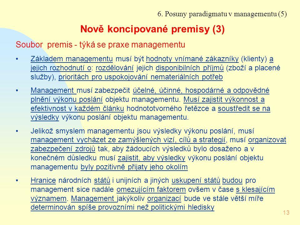 13 6. Posuny paradigmatu v managementu (5) Nově koncipované premisy (3) Soubor premis - týká se praxe managementu Základem managementu musí být hodnot