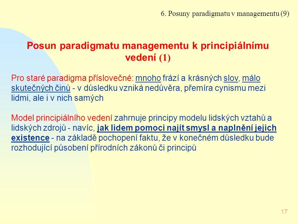 17 Posun paradigmatu managementu k principiálnímu vedení (1) Pro staré paradigma příslovečné: mnoho frází a krásných slov, málo skutečných činů - v dů