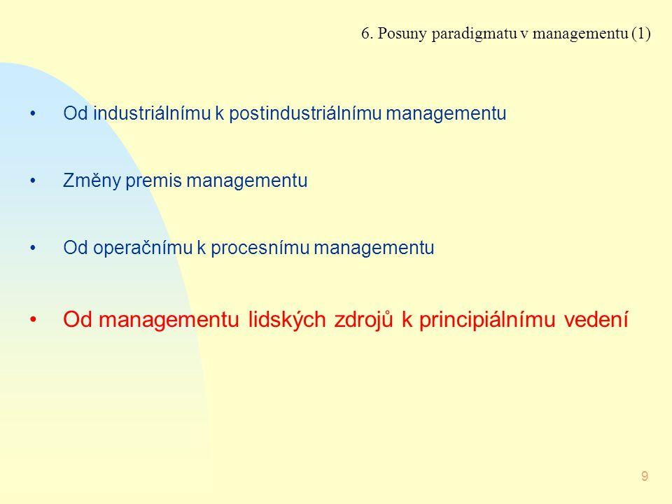 9 Od industriálnímu k postindustriálnímu managementu Změny premis managementu Od operačnímu k procesnímu managementu Od managementu lidských zdrojů k