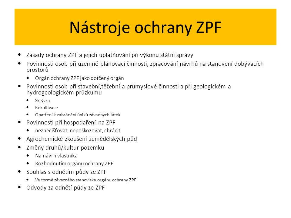 Nástroje ochrany ZPF Zásady ochrany ZPF a jejich uplatňování při výkonu státní správy Povinnosti osob při územně plánovací činnosti, zpracování návrhů