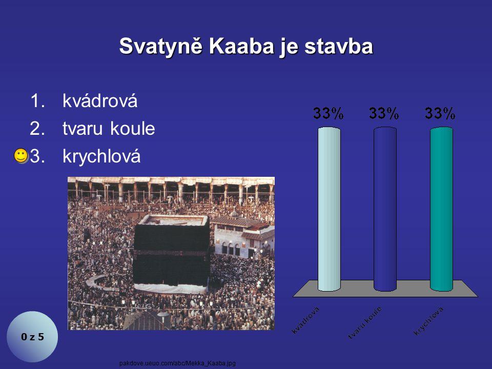 Svatyně Kaaba je stavba 0 z 5 1.kvádrová 2.tvaru koule 3.krychlová pakdove.ueuo.com/abc/Mekka_Kaaba.jpg