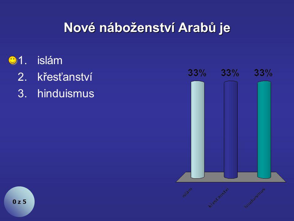 Nové náboženství Arabů je 0 z 5 1.islám 2.křesťanství 3.hinduismus