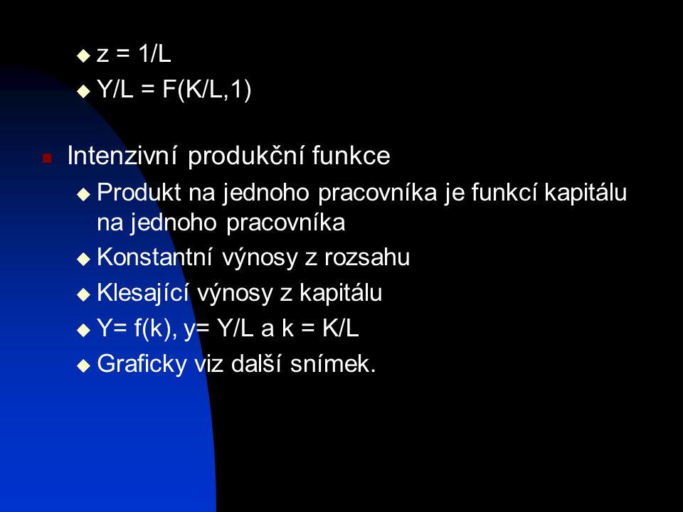  z = 1/L  Y/L = F(K/L,1) Intenzivní produkční funkce  Produkt na jednoho pracovníka je funkcí kapitálu na jednoho pracovníka  Konstantní výnosy z rozsahu  Klesající výnosy z kapitálu  Y= f(k), y= Y/L a k = K/L  Graficky viz další snímek.