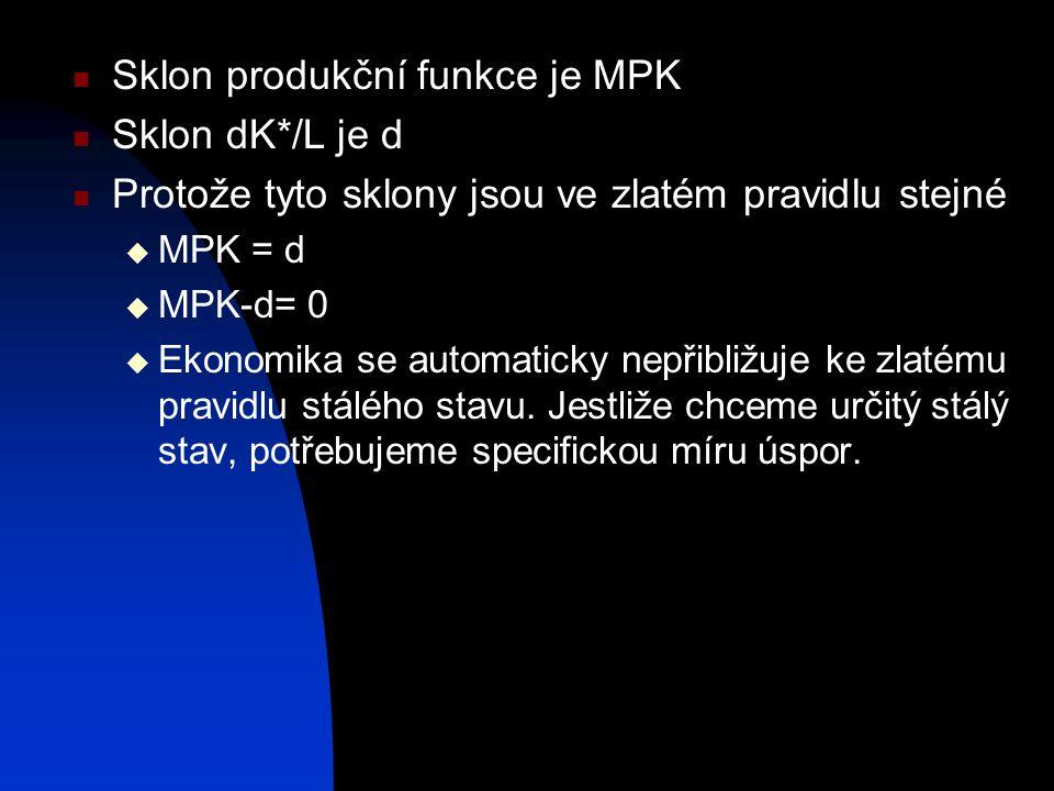 Sklon produkční funkce je MPK Sklon dK*/L je d Protože tyto sklony jsou ve zlatém pravidlu stejné  MPK = d  MPK-d= 0  Ekonomika se automaticky nepřibližuje ke zlatému pravidlu stálého stavu.