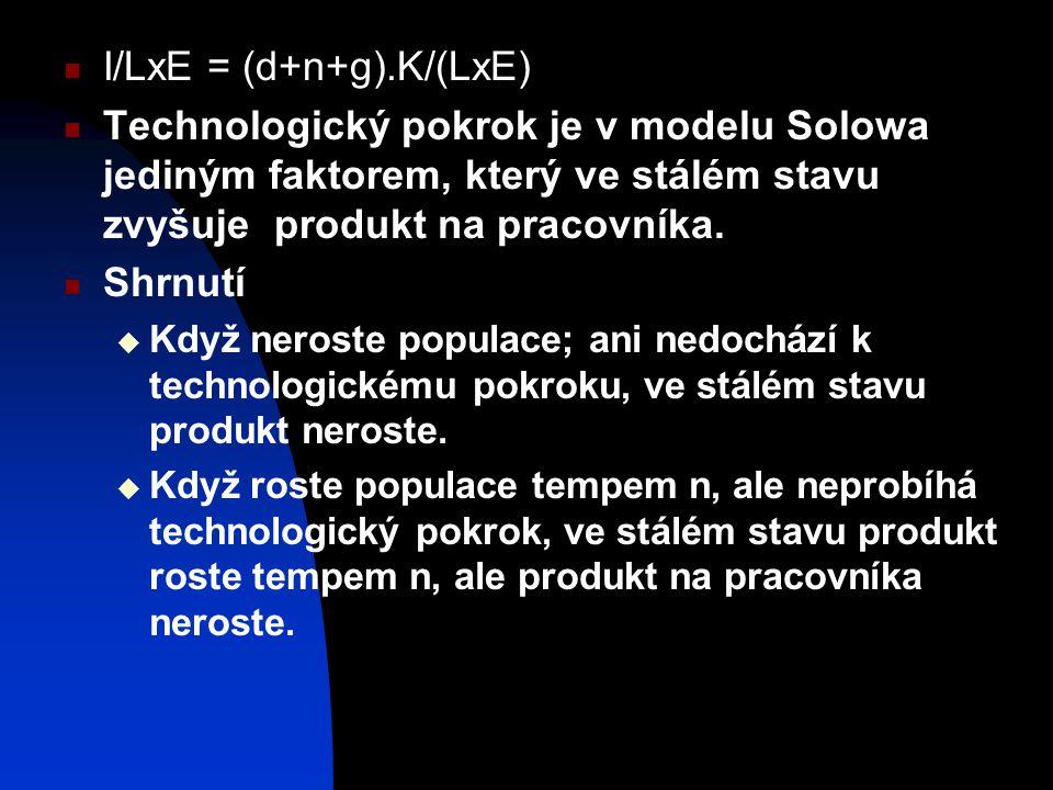 I/LxE = (d+n+g).K/(LxE) Technologický pokrok je v modelu Solowa jediným faktorem, který ve stálém stavu zvyšuje produkt na pracovníka. Shrnutí  Když