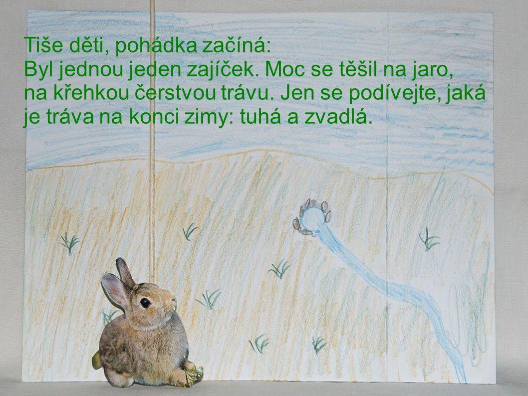 Tiše děti, pohádka začíná: Byl jednou jeden zajíček.