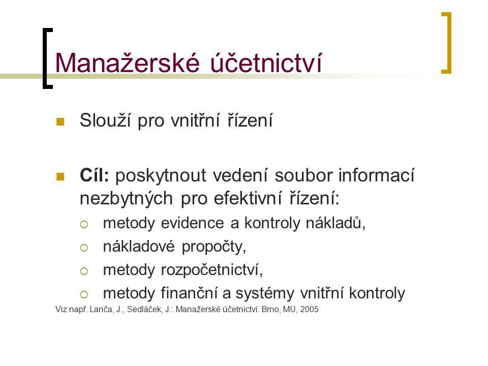 Manažerské účetnictví Slouží pro vnitřní řízení Cíl: poskytnout vedení soubor informací nezbytných pro efektivní řízení:  metody evidence a kontroly