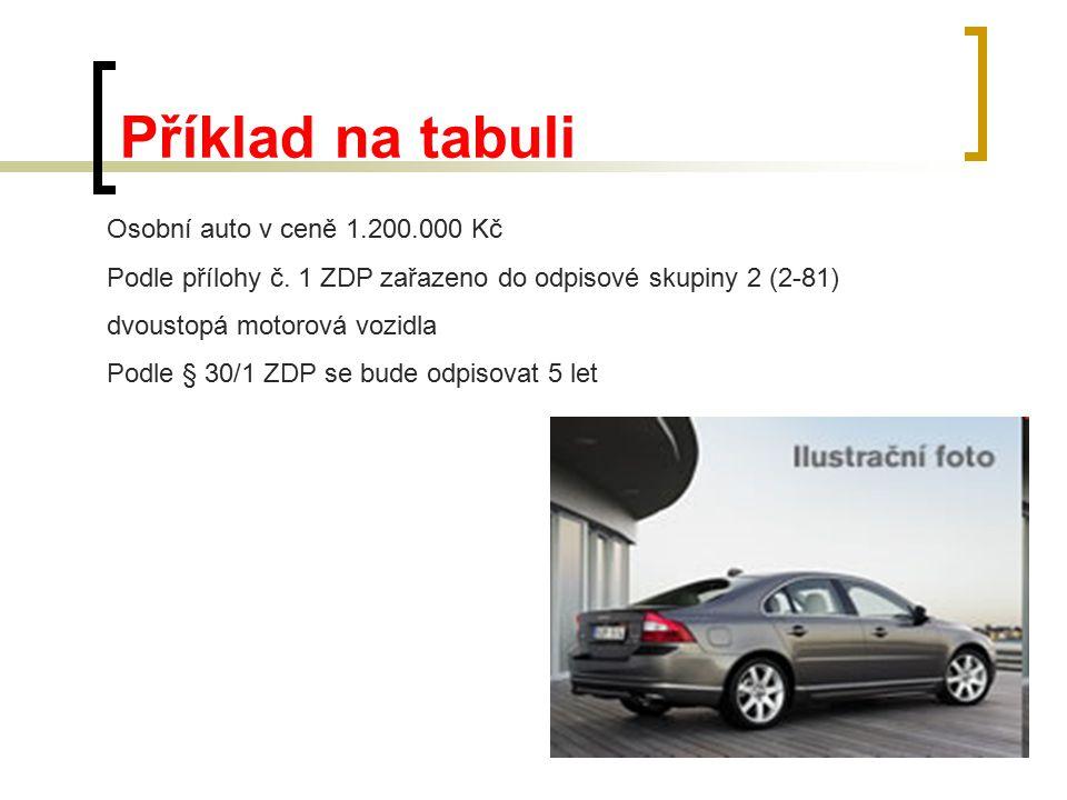 Příklad na tabuli Osobní auto v ceně 1.200.000 Kč Podle přílohy č. 1 ZDP zařazeno do odpisové skupiny 2 (2-81) dvoustopá motorová vozidla Podle § 30/1