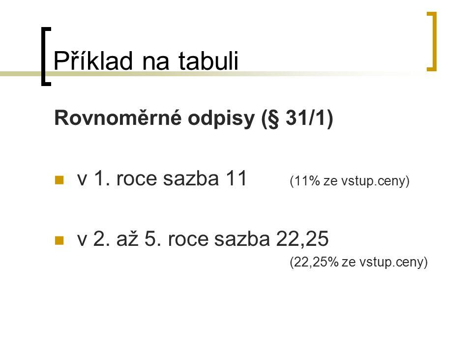 Příklad na tabuli Rovnoměrné odpisy (§ 31/1) v 1. roce sazba 11 (11% ze vstup.ceny) v 2. až 5. roce sazba 22,25 (22,25% ze vstup.ceny)