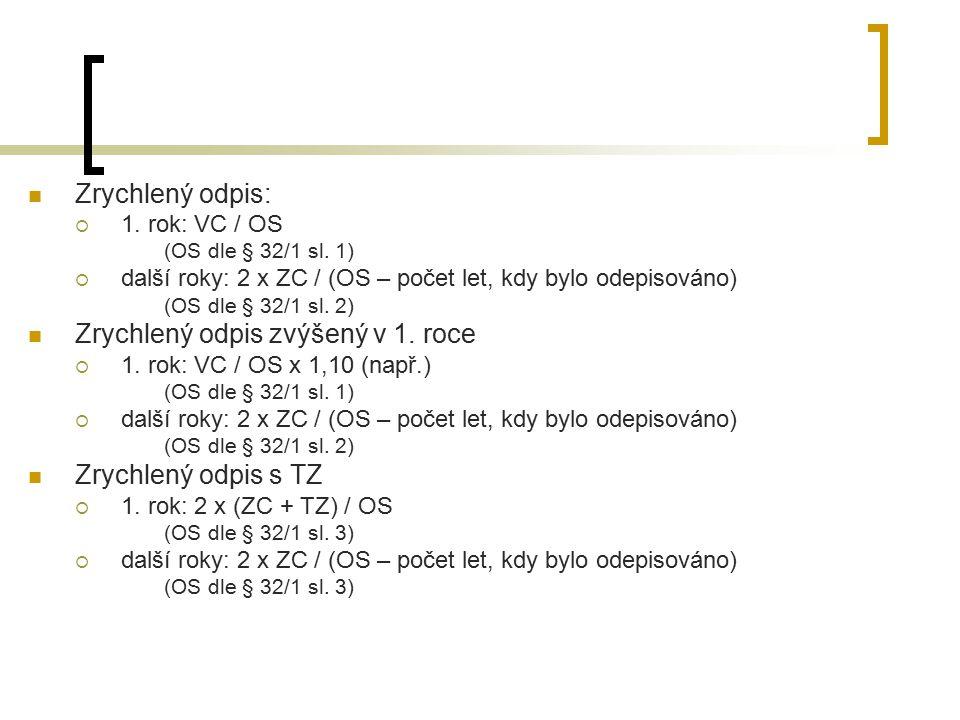 Zrychlený odpis:  1. rok: VC / OS (OS dle § 32/1 sl. 1)  další roky: 2 x ZC / (OS – počet let, kdy bylo odepisováno) (OS dle § 32/1 sl. 2) Zrychlený