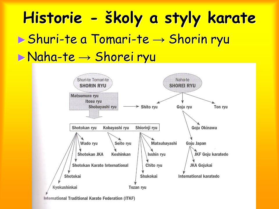"""Historie - školy a styly karate ► Gichin Funakoshi  1919 – 1922 karate za hranice Okinawy  """"čínská ruka → """"prázdná ruka  Systematizace technik, vštěpování etiky a disciplíny z jiných bojových umění  Pravidla pro jiu kumite  Požadavky na stupně a třídy  Shotokan  Žáci: Hironori Otsuka → Wado ryu ► Masatoshi Nakajama → JKA ► Hidetaka Nishiyama → ITKF ► Hirozoku Kanazawa → SKI ► Masutacu Ójama → Kjokushinkai"""