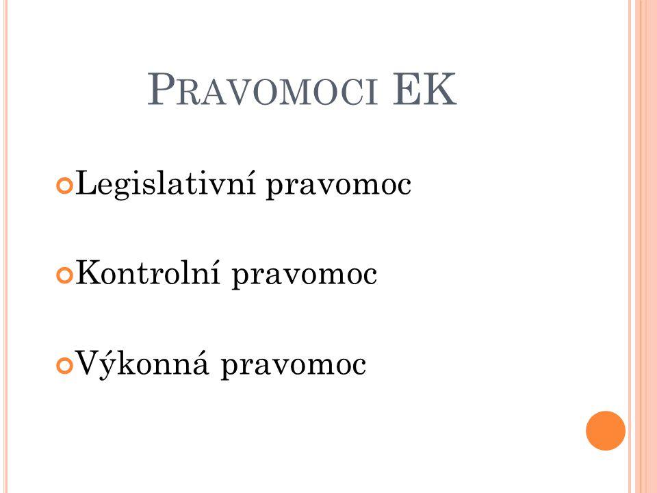 P RAVOMOCI EK Legislativní pravomoc Kontrolní pravomoc Výkonná pravomoc