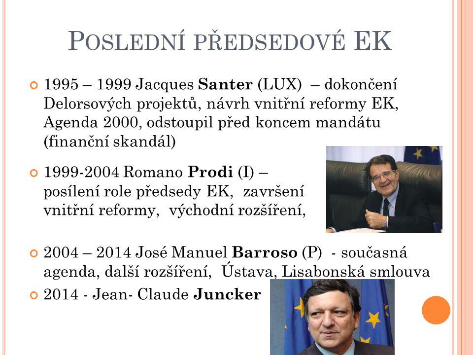P OSLEDNÍ PŘEDSEDOVÉ EK 1995 – 1999 Jacques Santer (LUX) – dokončení Delorsových projektů, návrh vnitřní reformy EK, Agenda 2000, odstoupil před koncem mandátu (finanční skandál) 1999-2004 Romano Prodi (I) – posílení role předsedy EK, završení vnitřní reformy, východní rozšíření, 2004 – 2014 José Manuel Barroso (P) - současná agenda, další rozšíření, Ústava, Lisabonská smlouva 2014 - Jean- Claude Juncker