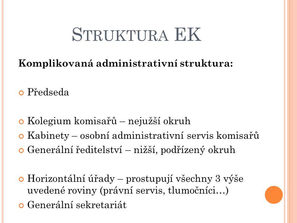 S TRUKTURA EK Komplikovaná administrativní struktura: Předseda Kolegium komisařů – nejužší okruh Kabinety – osobní administrativní servis komisařů Generální ředitelství – nižší, podřízený okruh Horizontální úřady – prostupují všechny 3 výše uvedené roviny (právní servis, tlumočníci…) Generální sekretariát
