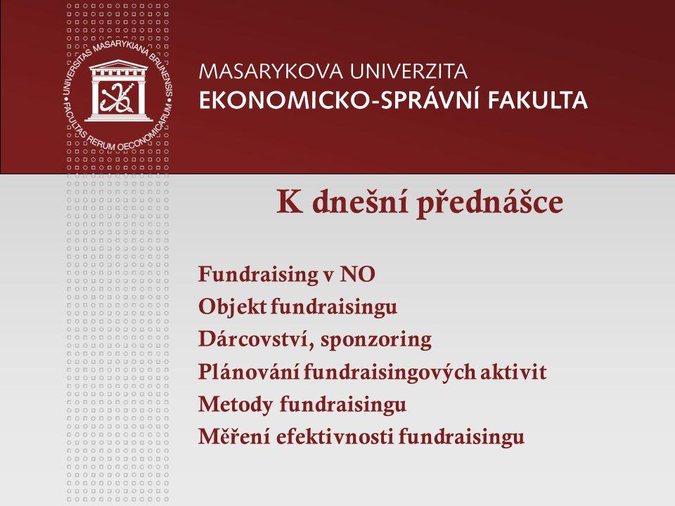 K dnešní p ř ednášce Fundraising v NO Objekt fundraisingu Dárcovství, sponzoring Plánování fundraisingových aktivit Metody fundraisingu M ěř ení efektivnosti fundraisingu
