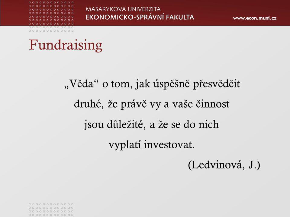 """www.econ.muni.cz Fundraising """"V ě da o tom, jak úsp ě šn ě p ř esv ě d č it druhé, ž e práv ě vy a vaše č innost jsou d ů le ž ité, a ž e se do nich vyplatí investovat."""