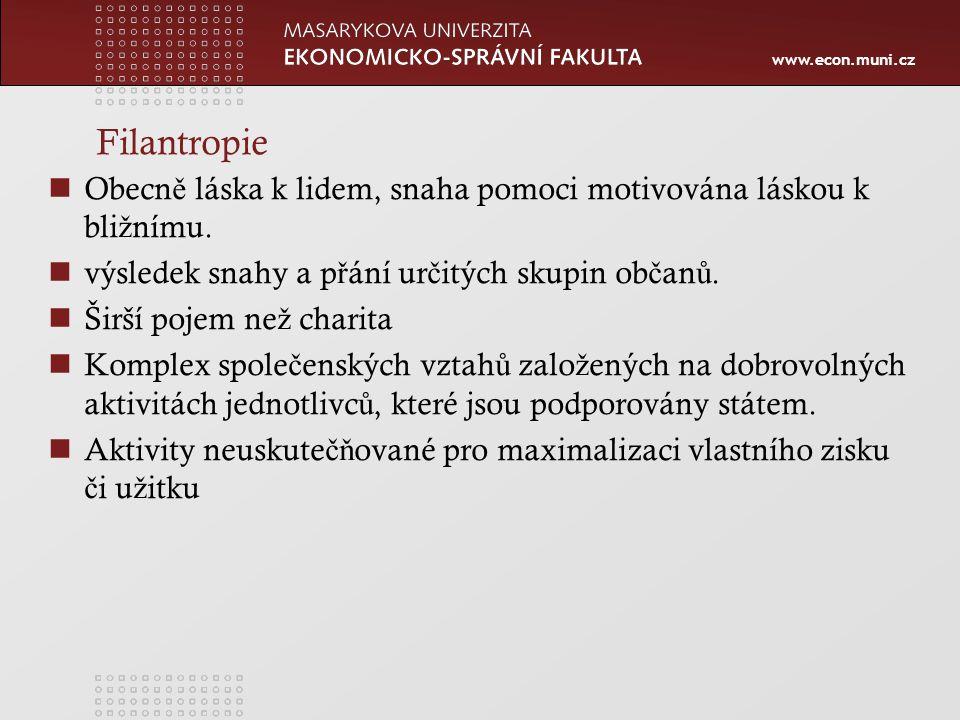 www.econ.muni.cz Filantropie Obecn ě láska k lidem, snaha pomoci motivována láskou k bli ž nímu.