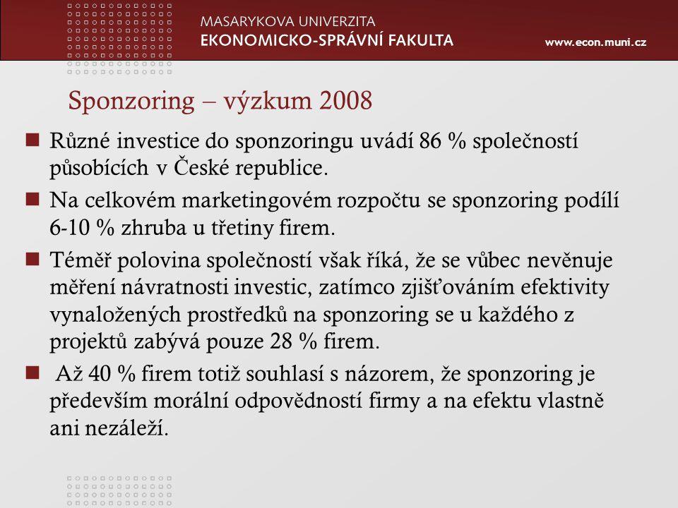 www.econ.muni.cz Sponzoring – výzkum 2008 R ů zné investice do sponzoringu uvádí 86 % spole č ností p ů sobících v Č eské republice.