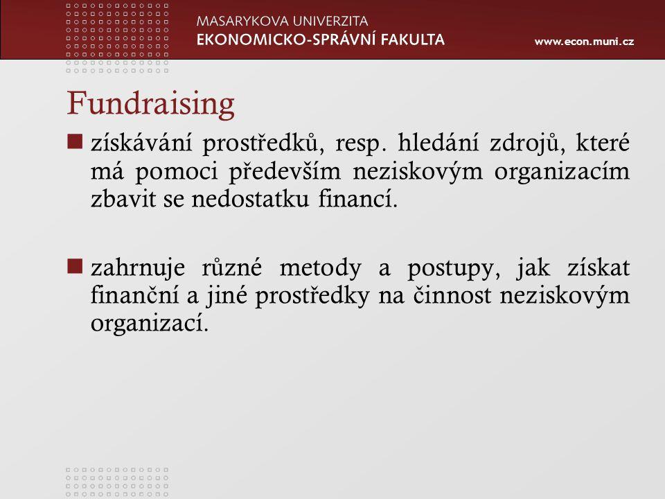 www.econ.muni.cz Metody fundraisingu Vlastní p ř íjmy, tzv.
