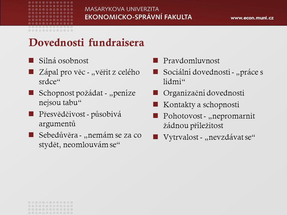 """www.econ.muni.cz Metody fundraisingu fundraising """"od dve ř í ke dve ř ím nevýhoda vstupování do soukromí potencionálních dárc ů."""