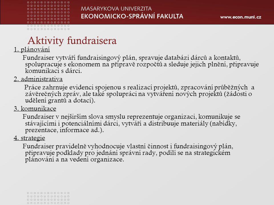 www.econ.muni.cz Aktivity fundraisera 1.