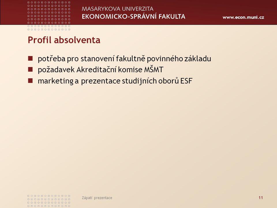 www.econ.muni.cz Zápatí prezentace11 Profil absolventa potřeba pro stanovení fakultně povinného základu požadavek Akreditační komise MŠMT marketing a prezentace studijních oborů ESF