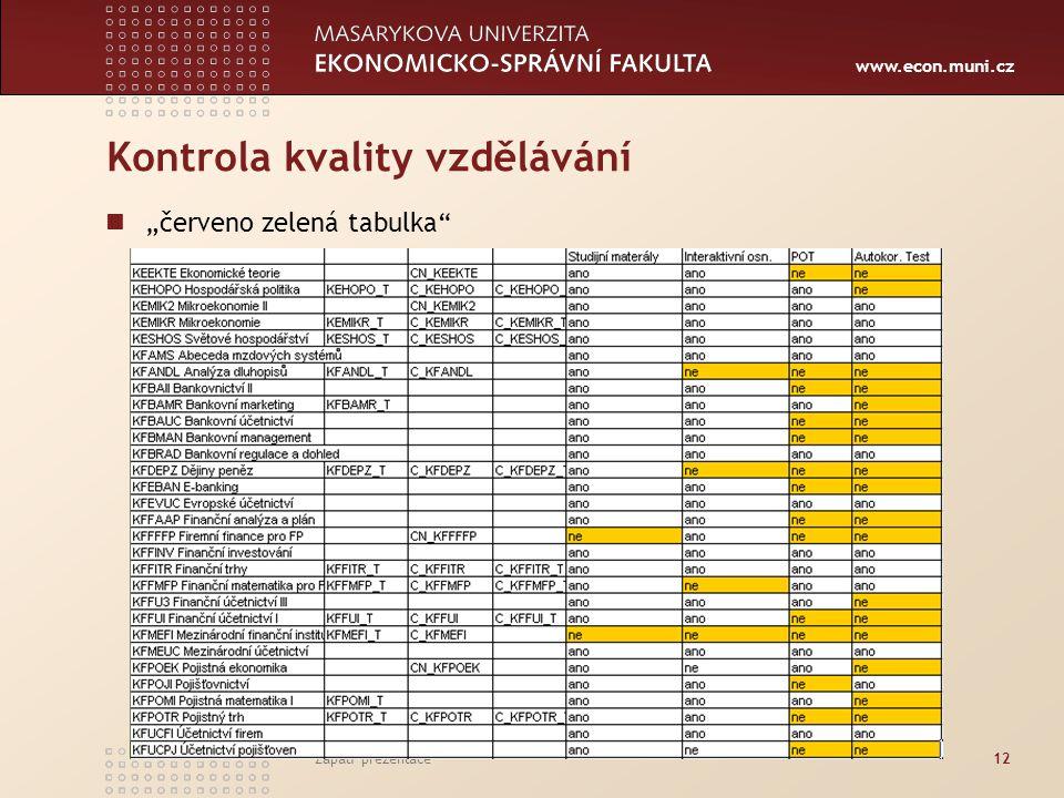 """www.econ.muni.cz Zápatí prezentace12 Kontrola kvality vzdělávání """"červeno zelená tabulka"""