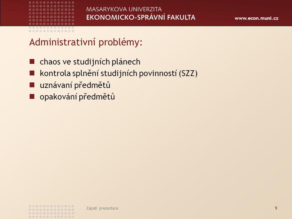 www.econ.muni.cz Zápatí prezentace9 Administrativní problémy: chaos ve studijních plánech kontrola splnění studijních povinností (SZZ) uznávaní předmětů opakování předmětů