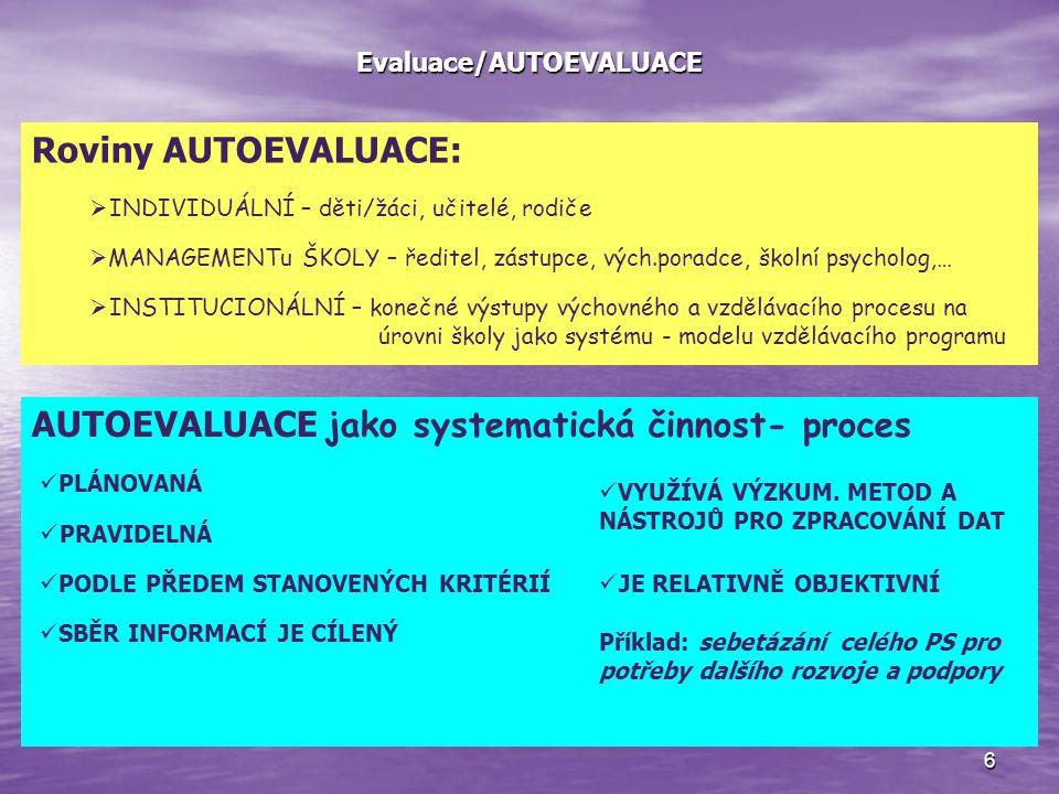 6 Evaluace/AUTOEVALUACE Roviny AUTOEVALUACE:  INDIVIDUÁLNÍ – děti/žáci, učitelé, rodiče  MANAGEMENTu ŠKOLY – ředitel, zástupce, vých.poradce, školní psycholog,…  INSTITUCIONÁLNÍ – konečné výstupy výchovného a vzdělávacího procesu na úrovni školy jako systému - modelu vzdělávacího programu AUTOEVALUACE jako systematická činnost- proces PLÁNOVANÁ PRAVIDELNÁ PODLE PŘEDEM STANOVENÝCH KRITÉRIÍ SBĚR INFORMACÍ JE CÍLENÝ VYUŽÍVÁ VÝZKUM.