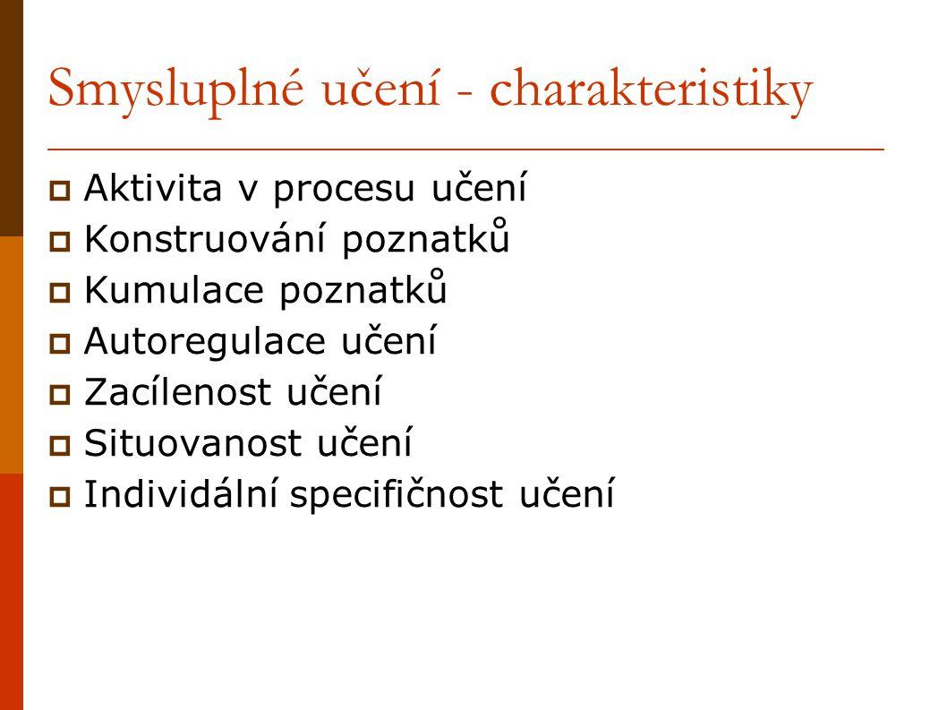 Smysluplné učení - charakteristiky  Aktivita v procesu učení  Konstruování poznatků  Kumulace poznatků  Autoregulace učení  Zacílenost učení  Si