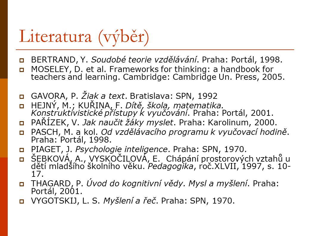 Literatura (výběr)  BERTRAND, Y. Soudobé teorie vzdělávání. Praha: Portál, 1998.  MOSELEY, D. et al. Frameworks for thinking: a handbook for teacher