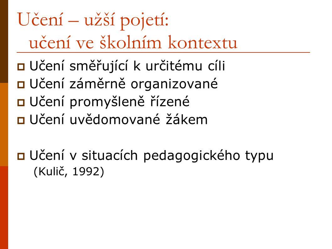 Učení – užší pojetí: učení ve školním kontextu  Učení směřující k určitému cíli  Učení záměrně organizované  Učení promyšleně řízené  Učení uvědomované žákem  Učení v situacích pedagogického typu (Kulič, 1992)
