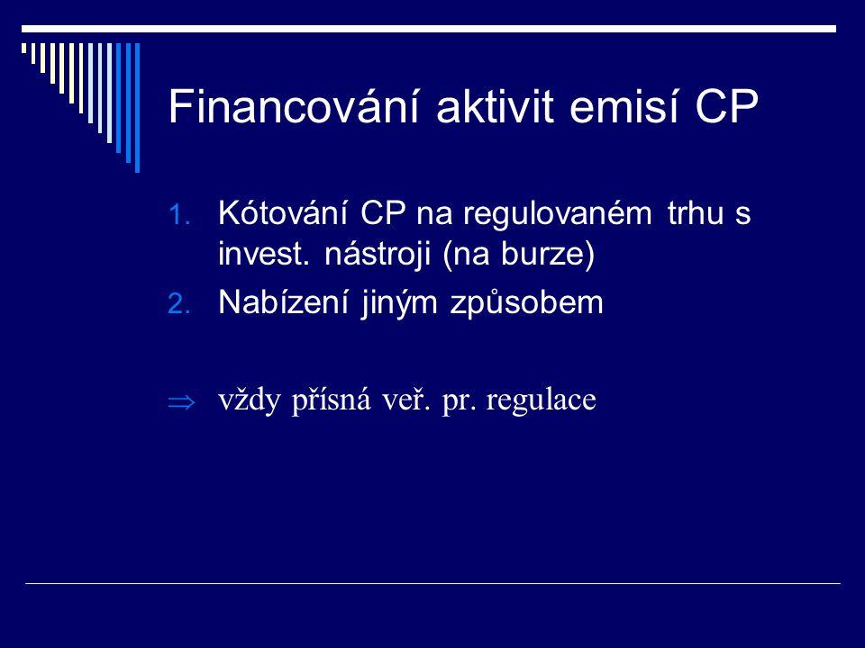 Financování aktivit emisí CP 1.Kótování CP na regulovaném trhu s invest.