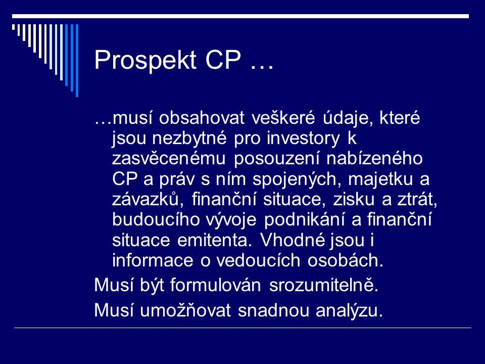 Informace v prospektu CP  údaje o emitentovi – tzv.