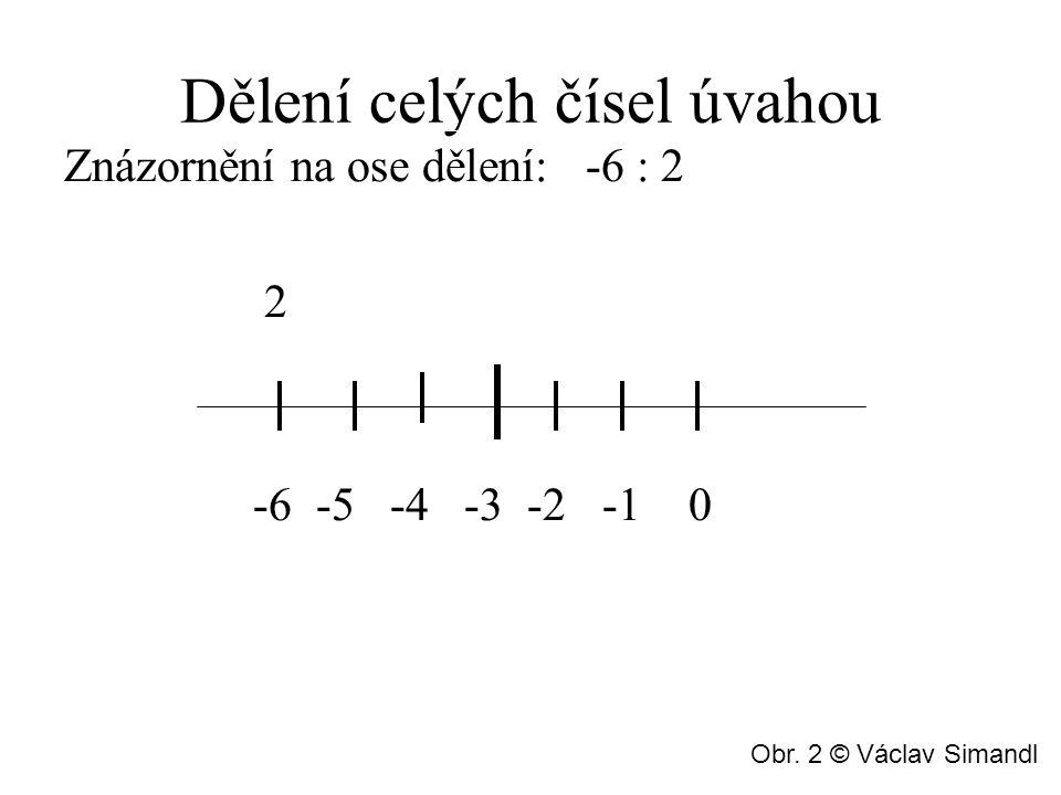 Dělení celých čísel úvahou Znázornění na ose dělení: -6 : 2 2 -6 -5 -4 -3 -2 -1 0 Obr. 2 © Václav Simandl