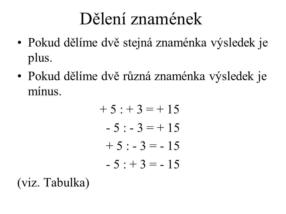 Dělení znamének Pokud dělíme dvě stejná znaménka výsledek je plus. Pokud dělíme dvě různá znaménka výsledek je mínus. + 5 : + 3 = + 15 - 5 : - 3 = + 1