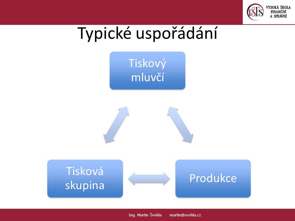 Typické uspořádání Tiskový mluvčí Produkce Tisková skupina 4.4.