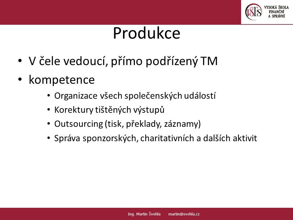 Produkce V čele vedoucí, přímo podřízený TM kompetence Organizace všech společenských událostí Korektury tištěných výstupů Outsourcing (tisk, překlady, záznamy) Správa sponzorských, charitativních a dalších aktivit 7.7.