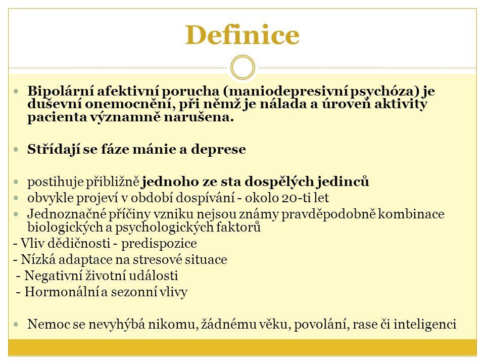 Definice Bipolární afektivní porucha (maniodepresivní psychóza) je duševní onemocnění, při němž je nálada a úroveň aktivity pacienta významně narušena